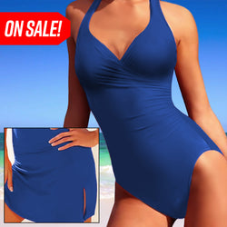 Slimming Swimsuit (With Skirt) - Blue