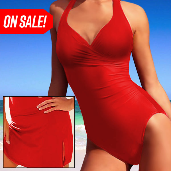 Slimming Swimsuit (With Skirt) - Red