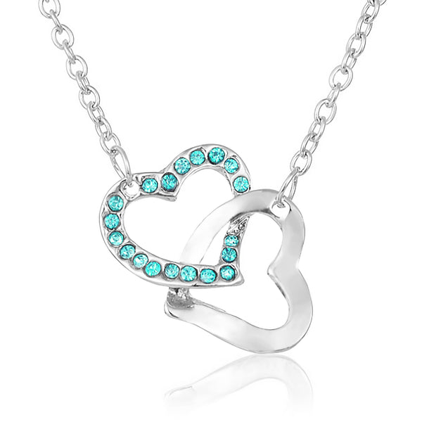True Friendship Heart Necklace - Aqua