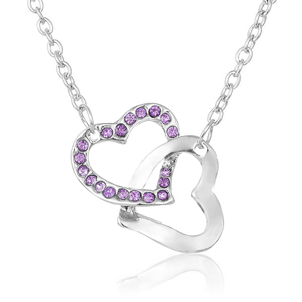 True Friendship Heart Necklace - Purple