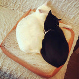 Comfy Toast Cat Bed Cushion Pillow - Bread Loaf Style