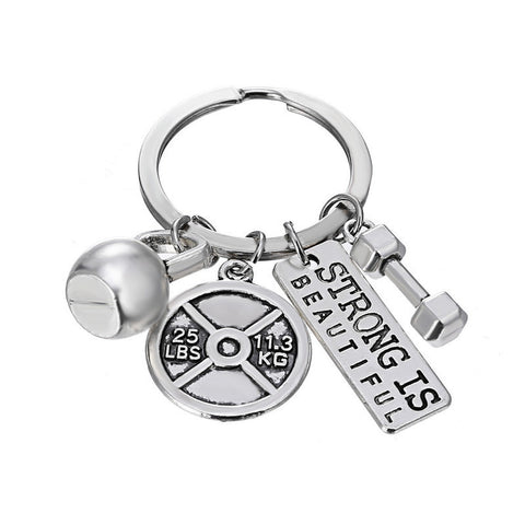 Strong Is Beautiful Dumbbell Fitness Gym Keychain - LOVEHAUL