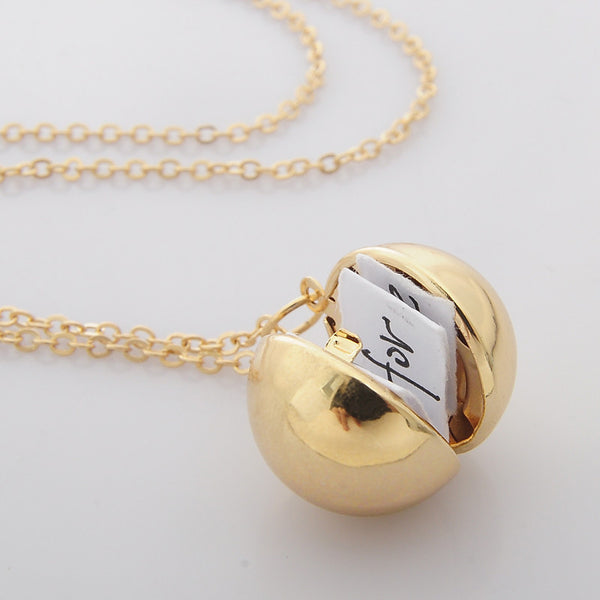 Custom Handmade Secret Message Ball Locket Necklace - LOVEHAUL
