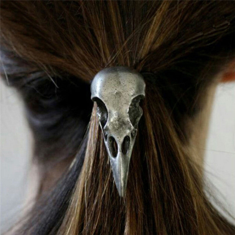 Bird skull, hair accessories. Hair band, Hair tie, Metal Silver or Gold Skull on black elastic band