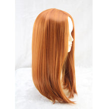 Medium Long Straight Anime Cosplay Brown Orange 50 Cm Synthetic Hair Wigs