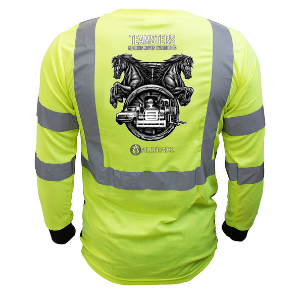 Teamster Reflective Long Sleeve Black Bottom - all-trade-apparel.