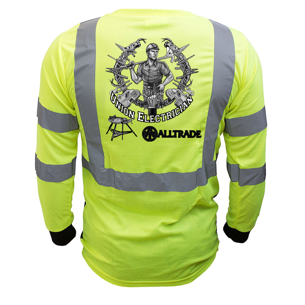Electrician Reflective Long Sleeve Black Bottom - all-trade-apparel.