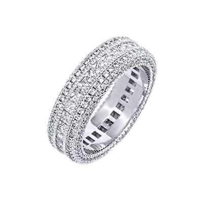 Classic Diamond Created Eternity Princess Cut Ring in 18K White Gold Plated