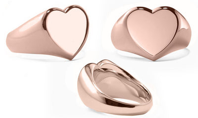 Heart Signet Ring in 18K Rose Gold Plated