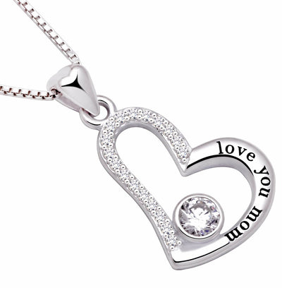 Swarovski Crystals Love you mom - Pave Heart  Necklace