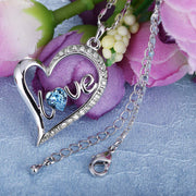Swarovski Crystals Sapphire LOVE Pave Heart  Necklace