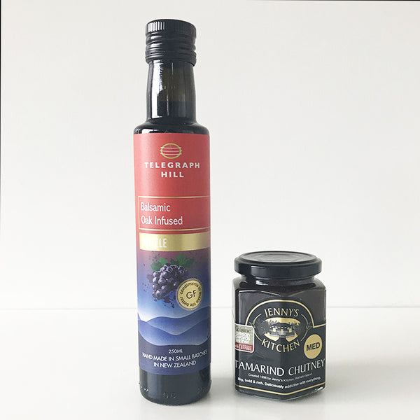 Telegraph Hill Oak Infused Balsamic Drizzle & Jenny's Kitchen Tamarind Chutney - handmade in NZ