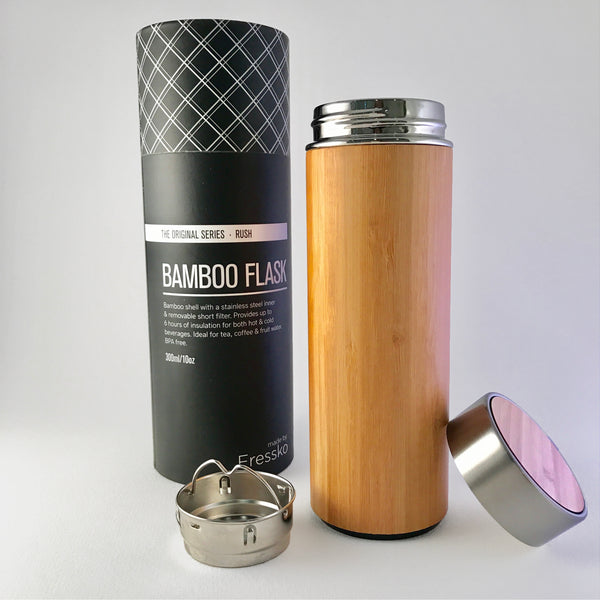 Fressko Bamboo Flask - stainless steel insulated fans for tea, coffee or water