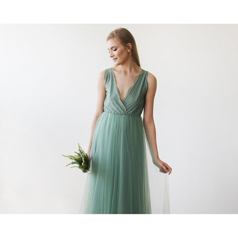 Sage Tulle and Lace Maxi Gown - Tulle Wedding