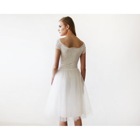 Ivory Off-the-Shoulders Tulle & Lace Midi Short Sleeves Dress - Tulle Wedding