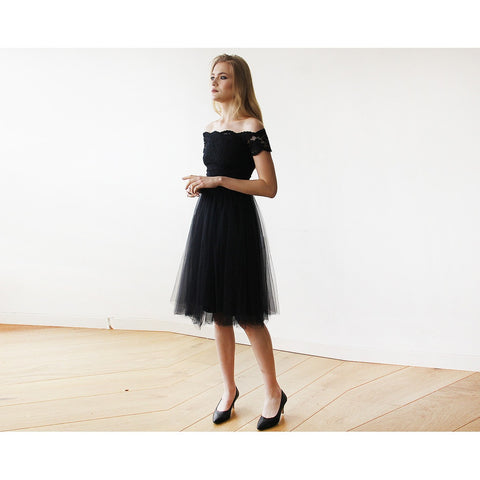 Black Off-the-Shoulders Tulle & Lace Midi Short Sleeves Dress - Tulle Wedding