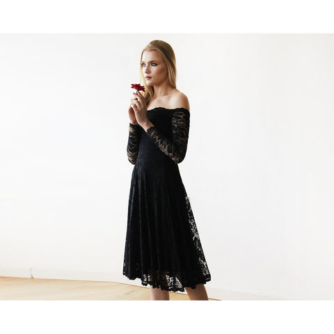 Black Off-The-Shoulder Floral Lace Long Sleeve Midi Dress - Tulle Wedding
