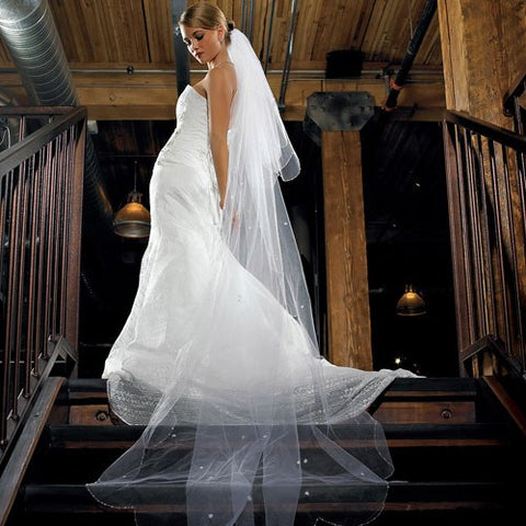 2-Tier White Standard Tulle Veil - Floor Length veil