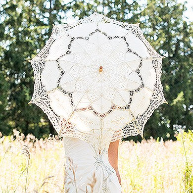 Antiqued Battenburg Lace Parasol - Large