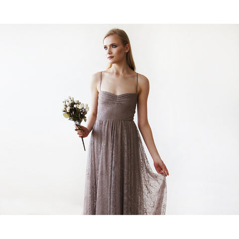 Taupe Sweetheart Neckline Lace Maxi Dress