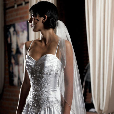 Single Layer Veil In Soft Tulle With Beaded Edging