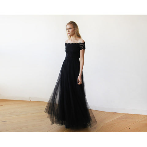Black Lace Off-the-Shoulder Short Sleeve Tulle Maxi Dress - Tulle Wedding