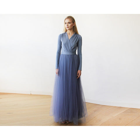 Dusty Blue maxi tulle dress with long sleeves - Tulle Wedding
