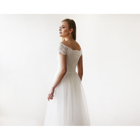 Ivory Off-The-Shoulder Short Sleeves Lace Maxi Tulle Gown - Tulle Wedding