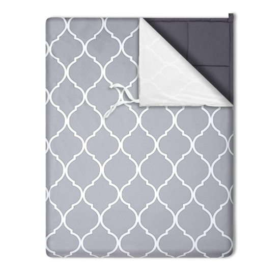 Ultra Soft Minky Trellis 100% Cotton Cooling Weighted Blanket Dark Gray (Variety of Sizes & Weight 9lbs-30lbs)