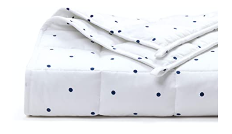100% Oeko-Tex Cooling Cotton Navy Polka Dots Adult & Teen Weighted Blanket