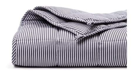 100% Oeko-Tex Cooling Cotton Grey/White Striped Adult & Teen Weighted Blanket