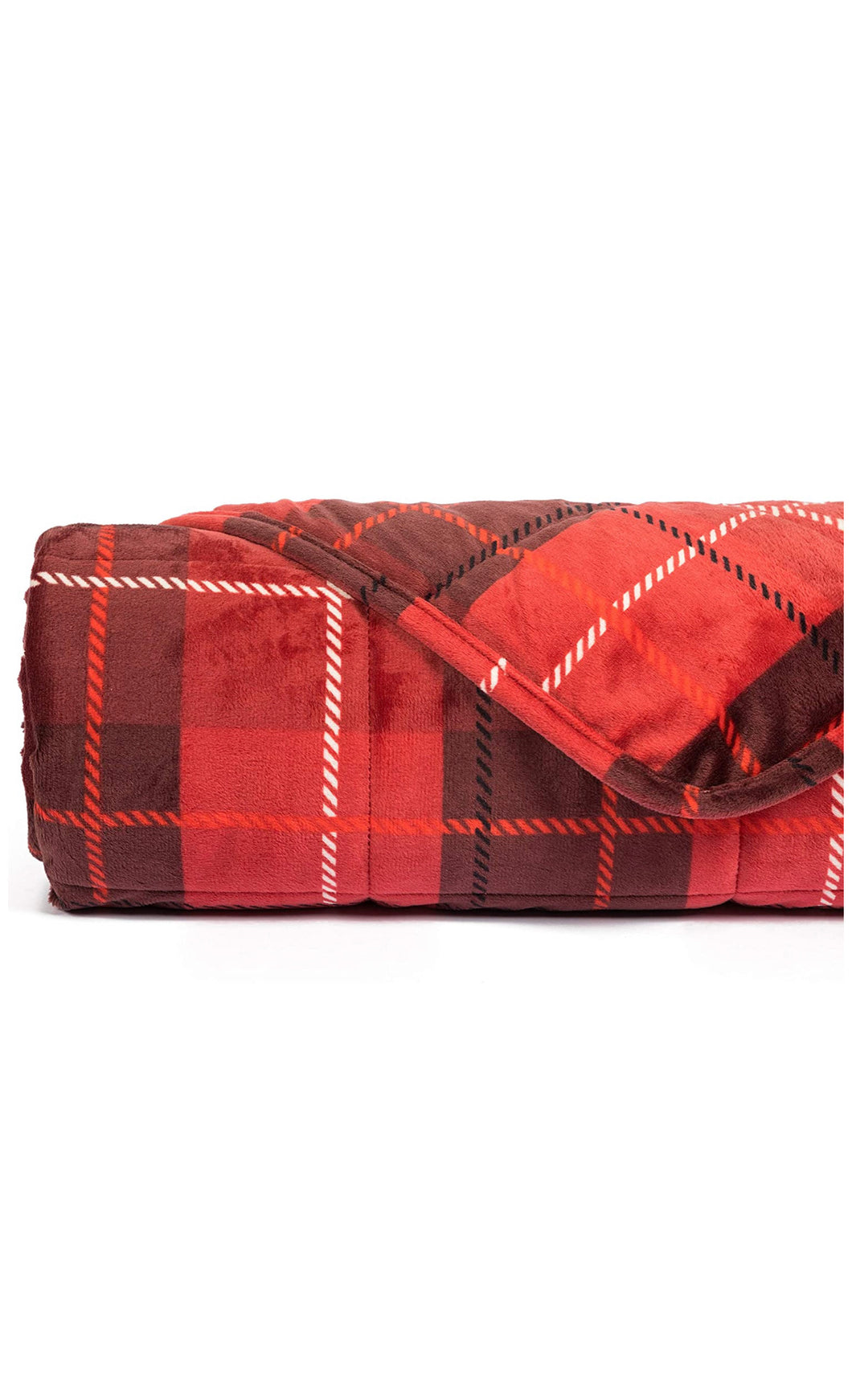 Red Plaid Plush Weighted Blanket