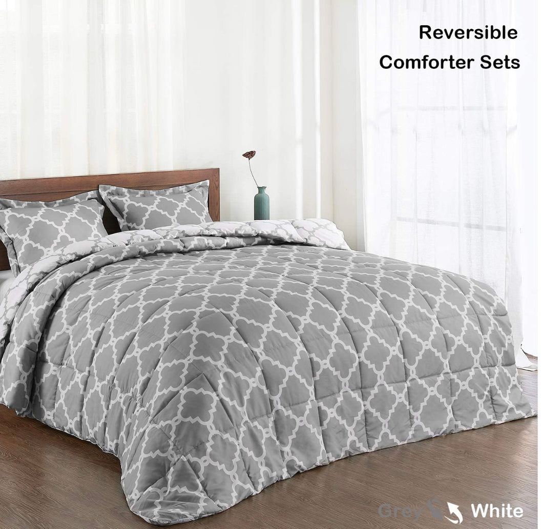 Reversible Gray & White Trellis Twin Weighted Blanket