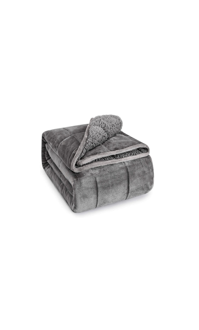 Gray Sherpa Fleece Weighted Blanket