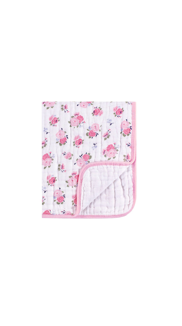 Pink Floral Muslin Cotton Weighted Blanket (46