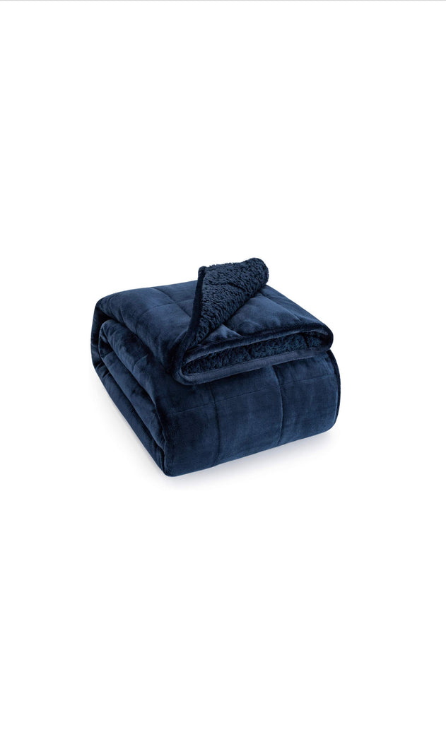 Navy Blue Sherpa Fleece Weighted Blanket