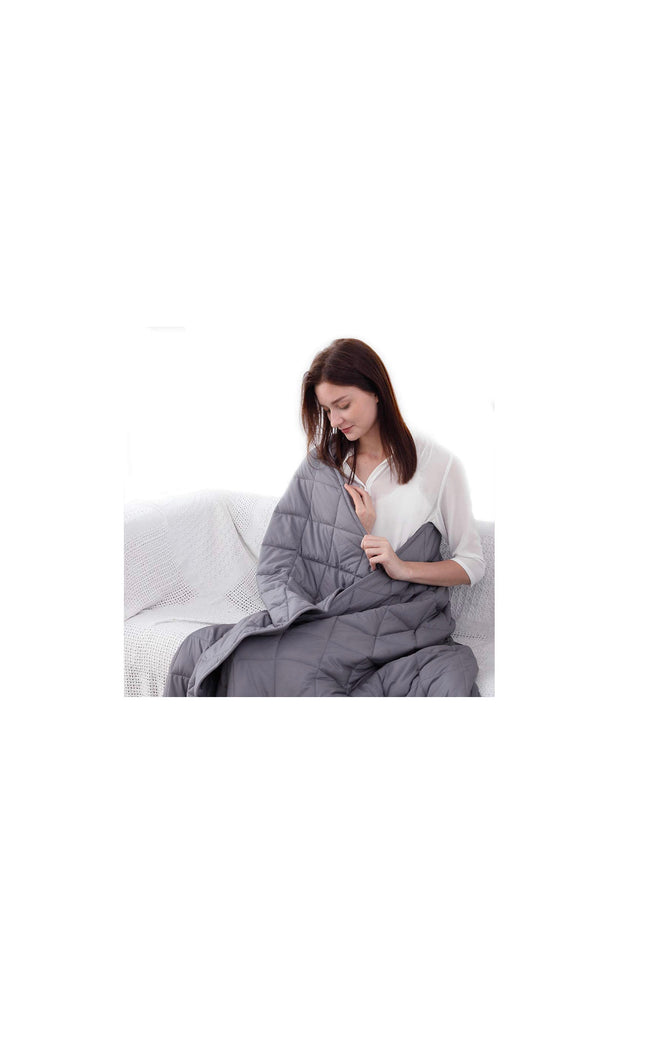 "12lbs, 15lbs, & 18lbs Cooling Weighted Blanket (Diamond Shape, Gray) Cotton (48"" x 72"")"