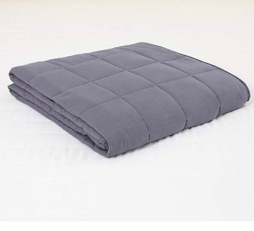 100% Cotton Cooling Weighted Blanket Dark Gray (Variety of Sizes & Weight 9lbs-30lbs)