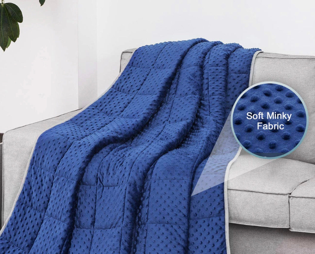 Blue Minky Dot/Gray Weighted Blanket