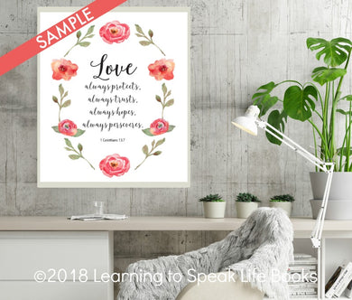 Scripture Art Printable 1 Corinthians 13:7 Instant Download