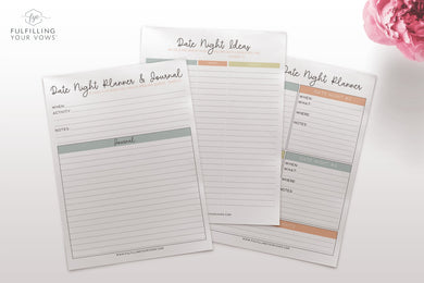 Monthly Date Night Planner Kit Printables
