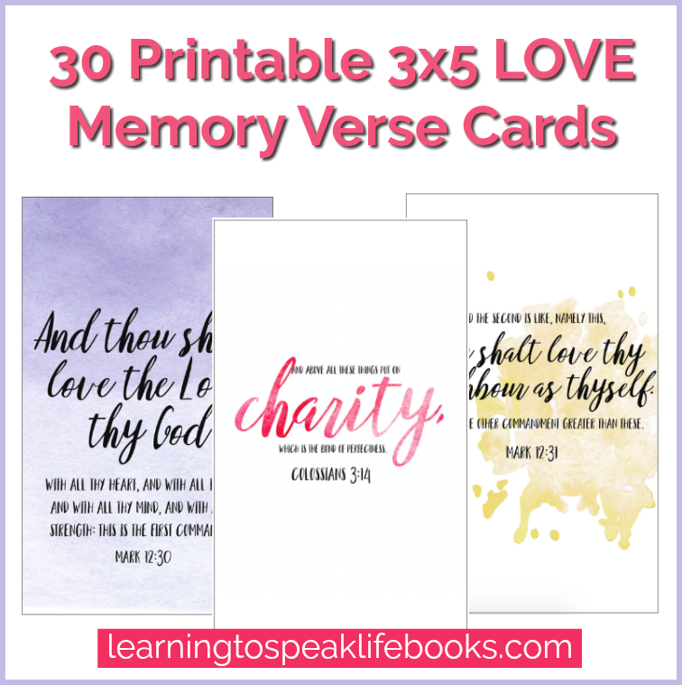 photo regarding Bible Verse Cards Printable known as Appreciate Printable 3x5 Scripture Playing cards (30 Verses)