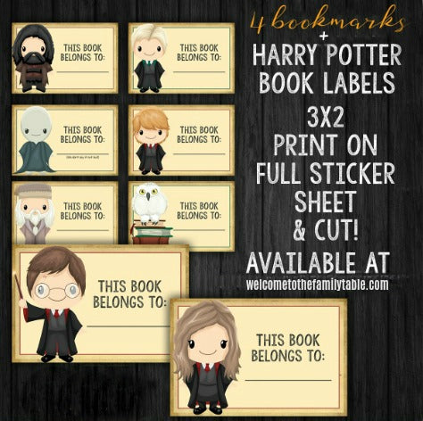 image about Harry Potter Printable Bookmark called Printable Harry Potter Bookmarks + E-book Labels - Welcome towards