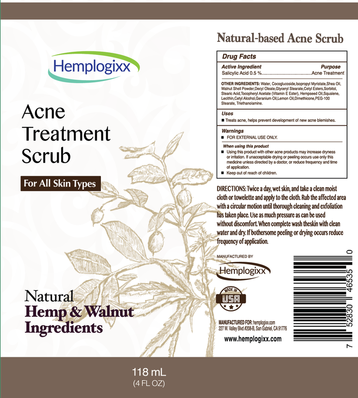 Acne Treatment Scrub - Natural Hemp & Walnut Ingredients - All Skin Types - Best for Clean Skin/ Acne Control/ Psoriasis Eczema Relief - 118 Ml/4 Oz