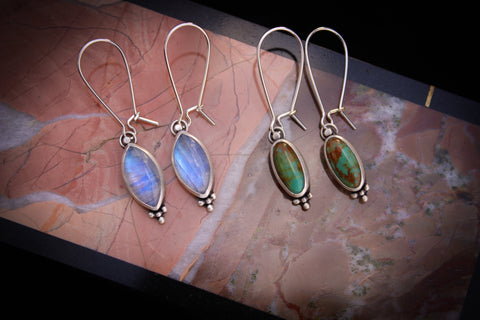 rainbow moonstone and turquoise earrings