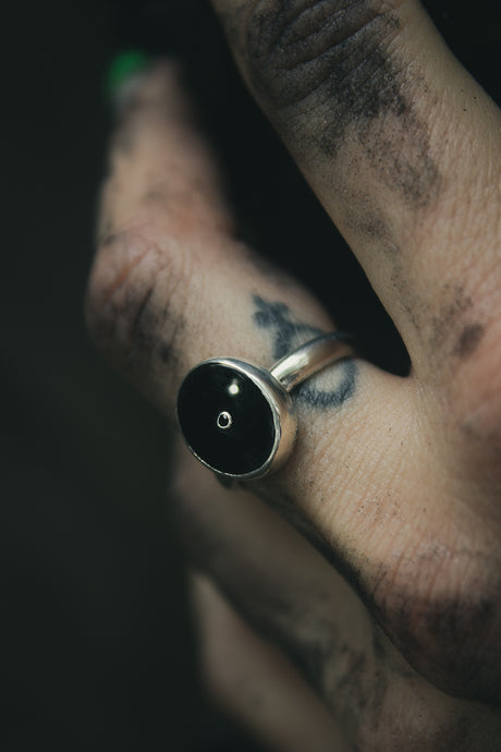 The Darkness Ring | Black Onyx with a hint of glimmer | Black Spinel | Size 7