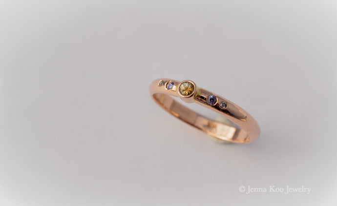 Enchant | 14k Rose Gold | Sapphire and Diamond Ring {Size 6.25}