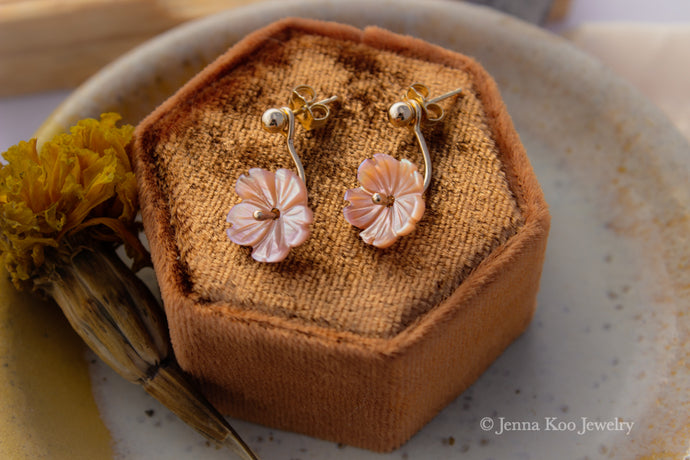 Posy Ear Jackets/Earrings | Pink Mother of Pearl Blossoms {Made to Order}