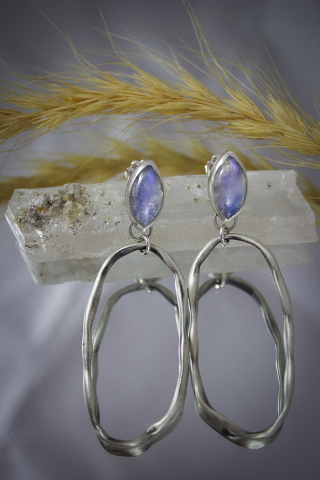 Jessica Earrings | Rainbow Moonstone | Sterling Silver