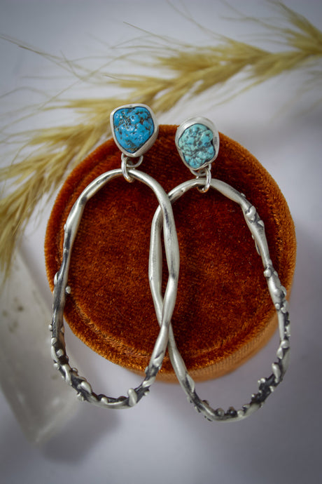 Jessica Earrings | Kingman Turquoise Nuggets | Sterling Silver